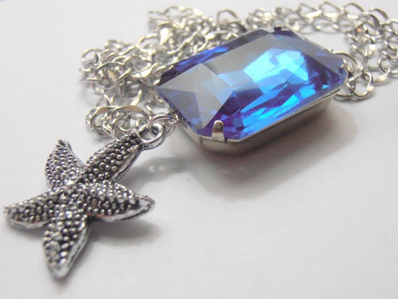SALE ITEM 18x27mm Austrian Sapphire Crystals Vintage Rectangular Rhinestones Silver setting Marcasite Starfish necklace