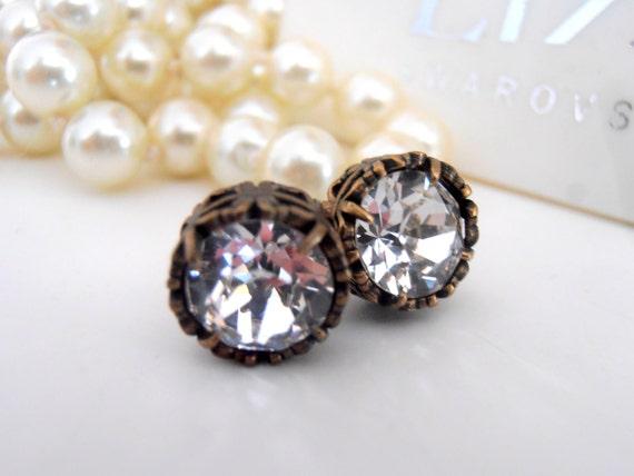 Clear Swarovski Stud Earrings / Art Deco Bridal Post Jewelry
