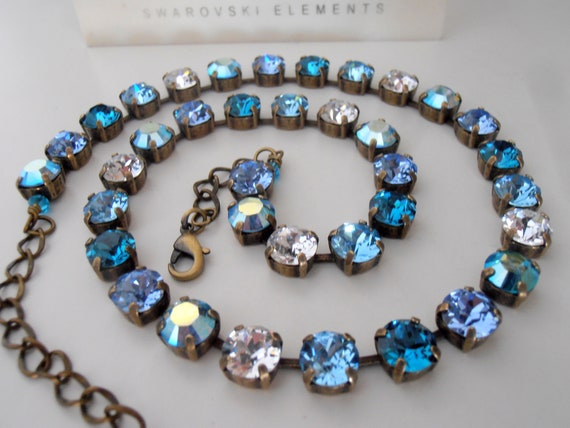Multicolors Blue Swarovski Crystal Necklace /  Vintage Choker Necklace / Birthday Gift