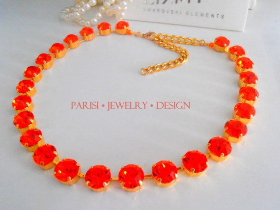 Hyacinth Swarovski Crystal Necklace / Gold Tennis Cupchain / Orange / Fashion Collet Necklace / Georgian / SS47 / Birthday gift