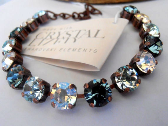 Swarovski Cupchain Crystal Bracelet / Tennis Bracelet / Moonlight/Rustic Blues / Chatons ss39 8mm Link chain Bracelet / Gift for her