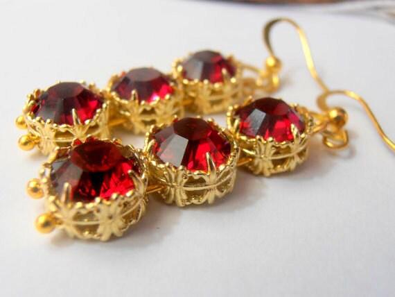 Ruby Red Swarovski Earrings / Art Deco Earrings / Filigree Dangle&Drop Earring / Victorian / Gold Long Earrings / Wedding Jewelry