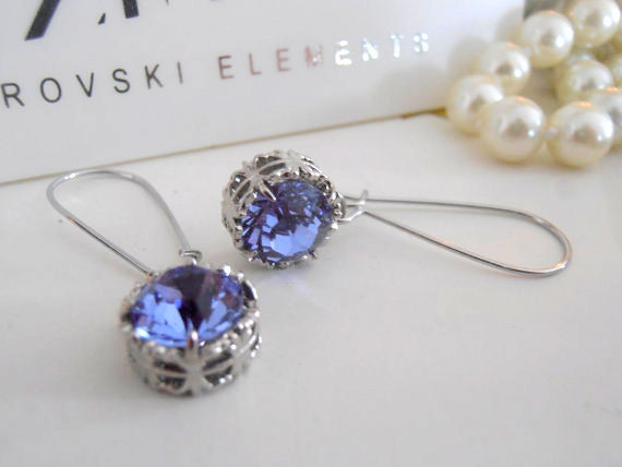 Tanzanite Threader Swarovski Earrings / Art Deco Women Jewelry