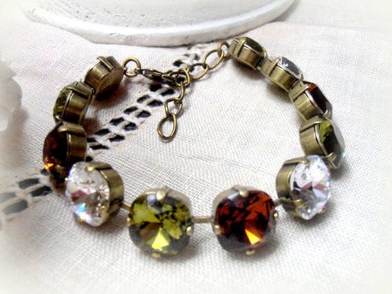 Cushion Cut Bracelet / Swarovski Crystal / Cupchain Tennis Bracelet / 12mm Olivine/Mocca / 4470 / Birthday Gift / Chain Bracelets /