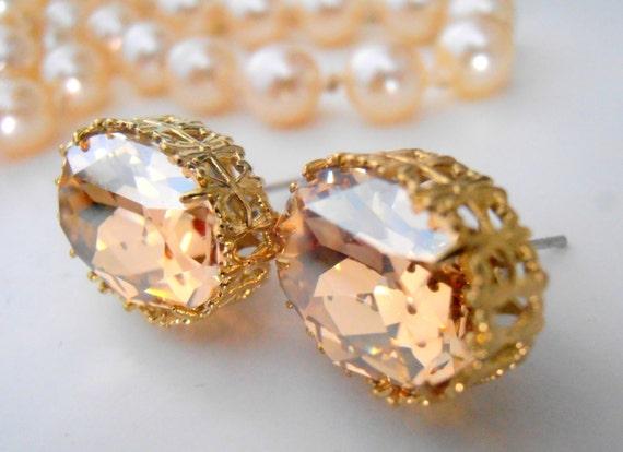 Swarovski Earrings, Art Deco, Golden Shadow, Statement, Wedding, Bridesmaid, Coctail Earrings, 14x10mm Oval Studs, Filigree Post