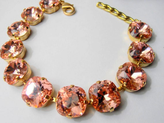 Peach Rose Cushion Cut Bracelet w/ Swarovski Crystals 4470 / Gold Cupchain Tennis Wedding Jewelry