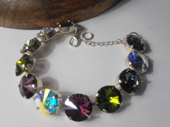 Multicolors Rivoli Bracelet w/ Swarovski Crystals / Tennis Cup chain