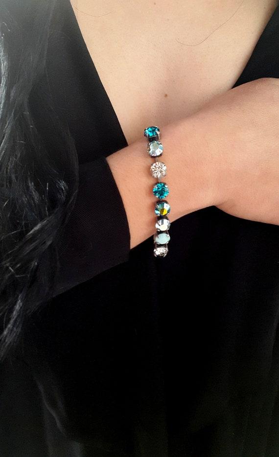 Multicolors Swarovski Crystal Bracelet / Tennis Cup chain / Statement Bracelet
