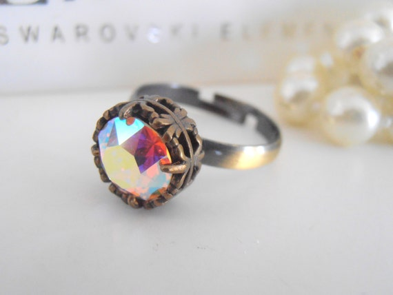 Art Deco, Swarovski Crystal Ring, Aurora Borealis, Stackable Ring, Bridal, Wedding, Vintage, Antique Bronze Filigree Setting