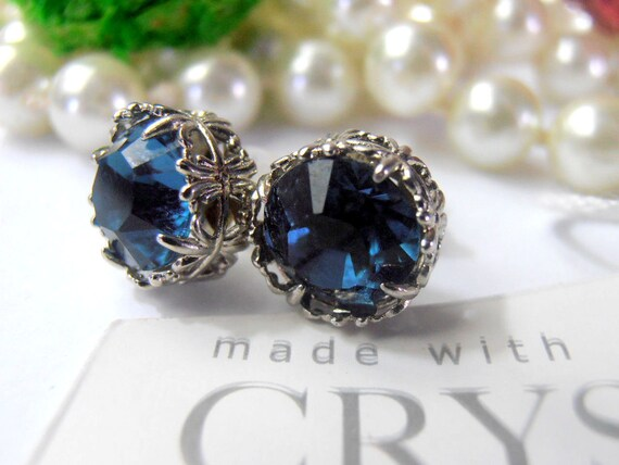 Dark Sapphire Blue Stud Swarovski Earrings/ Art Deco Platinum Women's Jewelry