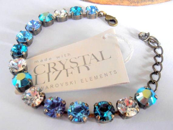Swarovski Crystal Bracelet, 8mm, Multicolor Aquamarine AB, chatons in Antique Brass setting, Cupchain,Vintage style, tennis bracelet