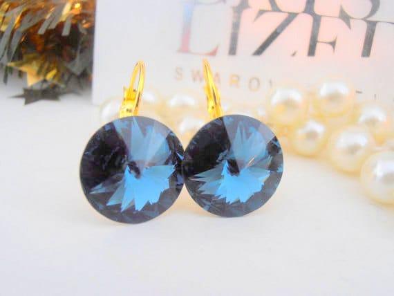 Swarovski Earrings, Montana Blue, 14mm, Crystal, 1122 Rivoli, Leverback, Dangle Earrings, Drop,Wedding, Golden Glue on Setting