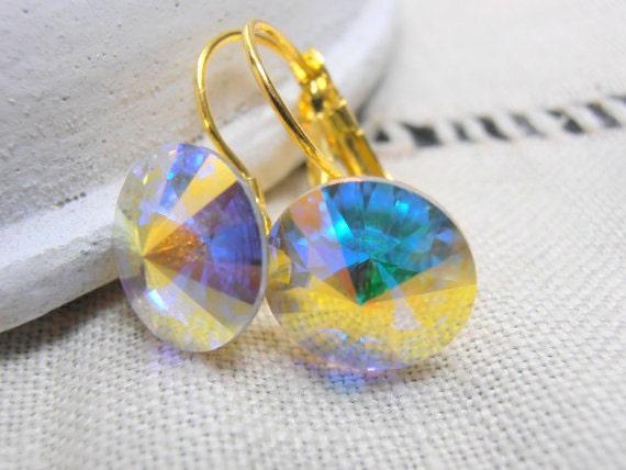 Aurora Borealis Rivoli Earrings w/ Swarovski 1122 Crystals 12mm / Gold Jewelry