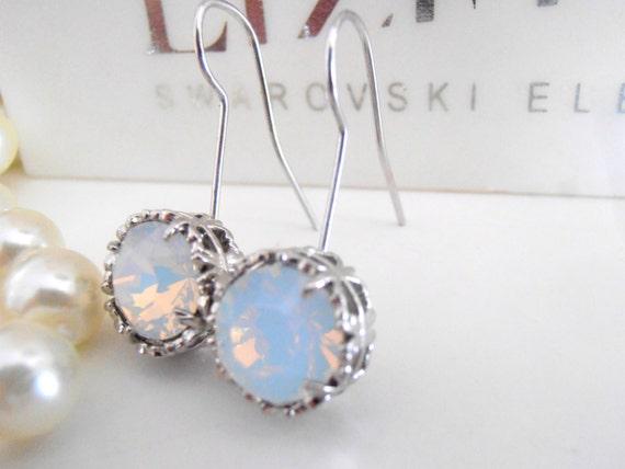 Art Deco, Swarovski Earrings, White Opal, Bridal Earrings, Drop, Hook Dangle, Crystal, Platinum Filigree Prong Setting, Vintage Jewelry
