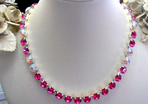 Pink Swarovski Necklace / Graduate Choker / Tennis Cup chain Jewelry
