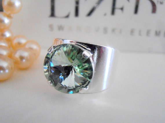 Chrysolite Swarovski Adjustable Crystal Rivoli Ring / Statement Boho Band Ring