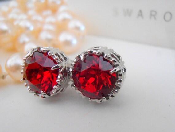 Swarovski Crystal Earrings, Bridal Earrings, Siam Red Studs, Art Deco, Chatons, Filigree, Post Earrings, Surgical Steel Earring