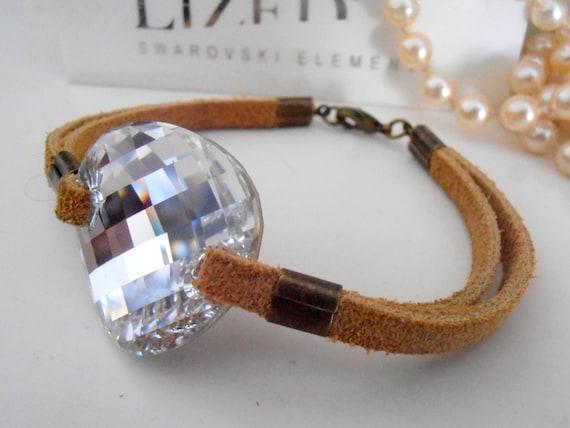 Suede Leather Cord Cuff Bracelet w/ Swarovski Sew on Crystal / Statement Wrist Jewelry for Women