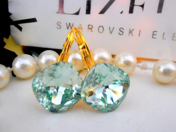 Bridal Drop Crystal Earrings • Swarovski Chrysolite Cushion Cut Leverback Earrings 4470