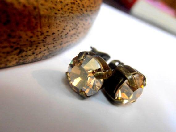 Golden Shadow Bronze Stud Earrings w/ Swarovski Crystals