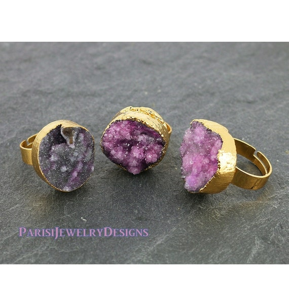 Raw Druzy Ring • Light Purple Agate Stone • Boho Cuff Rings • Band Statement Adjustable Ring • Natural Gemstone • Round 20mm Gold • 363