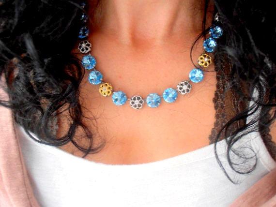 Aquamarine Swarovski Crystal Necklace / Tennis Choker / 12mm Rivoli Cupchain