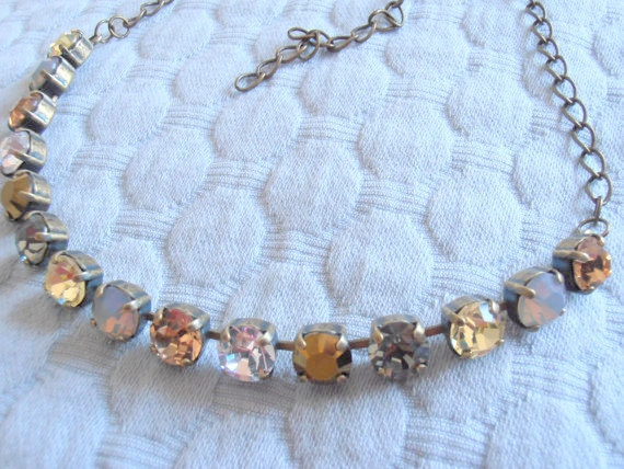 Dainty Choker Crystal Necklace with Swarovski / 8mm Tennis Cupchain Choker / Brown Multicolors / Chatons Necklace / Designer Necklace /Gift