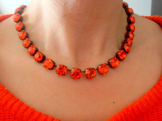 Anna Wintour Hyacinth Collet Necklace / Orange Crystal Women Jewelry