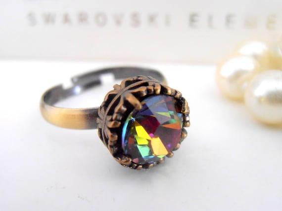 Swarovski Crystal Ring, Vitrail Medium, Stackable Ring, Art Deco, Statement, Midi, Wedding, Vintage, Antique Bronze Filigree Setting