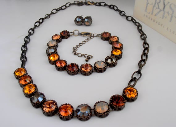 Brown Multicolors Swarovski Necklace / Art Deco Bronze Jewelry