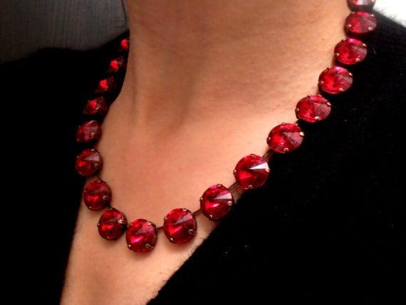 Ruby Swarovski Necklace / Anna Wintour Choker / Valentines Day Gift