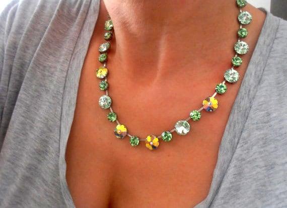 Chrysolite Swarovski Crystal Necklace / Tennis Cup Chain Collet / Rivoli Choker
