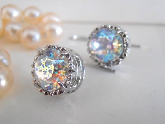 Contemporary White Patina Drop Earrings w/ Swarovski Crystals