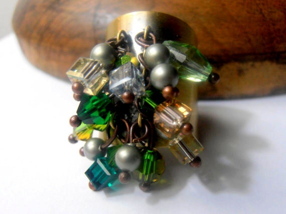 Multicolors Green Swarovski Crystal Cuff Ring / Antique Jewelry