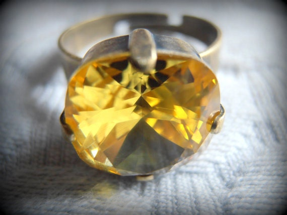 Light Topaz Cushion Cut Adjustable Ring / 4470 Swarovski Jewelry