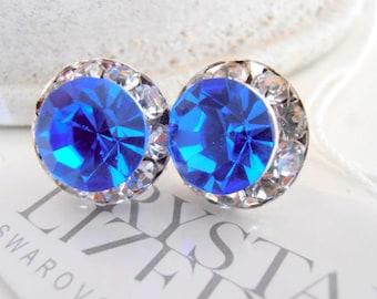 Halo Earrings, Swarovski Studs, Sapphire Blue, 12mm, Bridal Crystal Earring, Wedding Studs, Post Earrings, Bridesmaid Studs