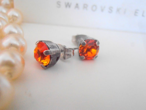 Swarovski Earrings, Fire Opal Studs, Crystal 6mm Chatons, Post Earring in Antique Silver with Surgical Steel Padsby parisijewelrydesigns