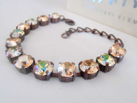 Golden Shadow Swarovski Tennis Bracelet / Copper Cupchain Jewelry