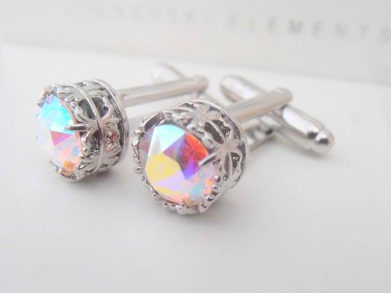 Cufflinks, Aurora Borealis, Swarovski Cufflinks, Bridal Cuff Links, Art Deco Cuff Links, Suit Tie, Wedding Accessories,Gift for her