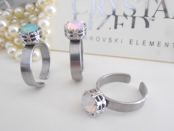 Stainless steel Rings, Swarovski Crystal, Stackable Ring, Art Deco, solitaire, White Opal, surgical steel, Bridal, Platinum Filigree Setting