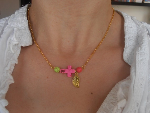 Howlite Multicolor Gemstone Cross Leaf necklace - Natural Pink  925 sterling silver 14K Gold plated chain pendant necklace