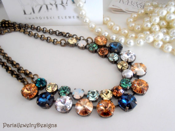 Layered Swarovski Crystal Necklace / Brown Multicolors Tennis Necklace / Cupchain Rivoli