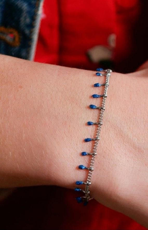 Blue Glittery Stainless Steel Chain Drops Bracelet
