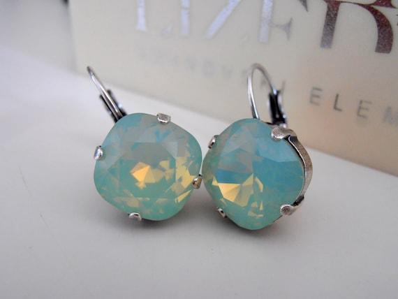 Chrysolite Opal Swarovski Drop Earrings / Cushion Cut Mint Jewelry