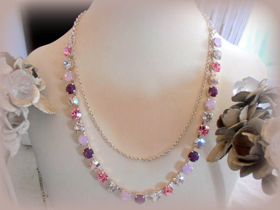 Swarovski Necklace, Purples and Roses, 8mm, 2 Layers Necklace, Choker, Crystal, Chatons, Silver plated, Chains, Long Tennis necklace