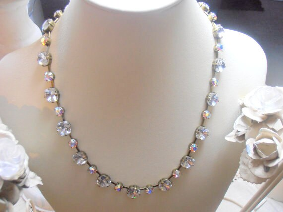 Antique Bronze Swarovski Cushion Cut Necklace with Clear AB Crystals