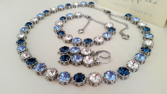 Blue Multi-Colors Swarovski Crystal Necklace / Art Deco Choker