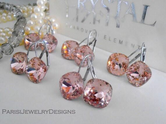 Wedding Square Swarovski Drop Earrings 4470 / Bridesmaids Jewelry