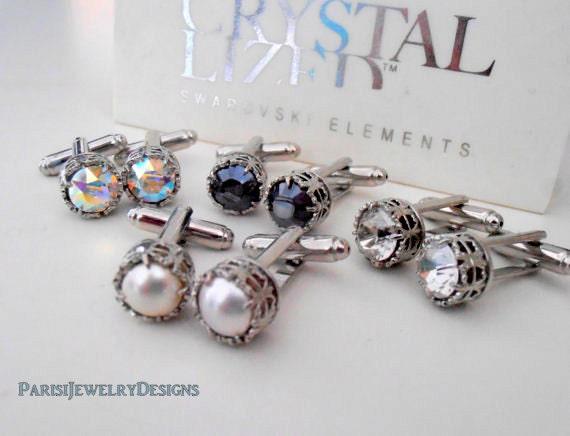 Cufflinks, Swarovski Cufflinks, Bridal Cuff Links, Silver Shade Art Deco Cuff Links, Suit Tie, Wedding Accessories,Gift for her