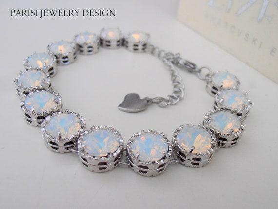 White Opal Swarovski Crystal Bracelet / Art Deco Women Jewelry